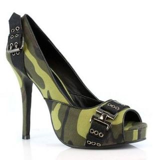 SEXY ARMY SOLDIER MILITARY COSTUME CAMOUFLAGE PEEP TOE PLATFORM HEELS