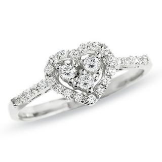 CT. T.W. Heart Shaped Diamond Frame Ring in 10K White Gold   View