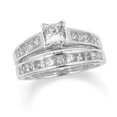 CT. T.W. Princess Cut Diamond Bridal Set in 14K White Gold   Zales