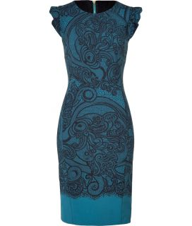 Emilio Pucci Petrol/Black Lace Print Dress  Damen  Kleider