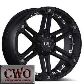 Black Tuff T 01 Wheels Rims 6x139.7 6 Lug Tundra Titan Chevy GMC 1500