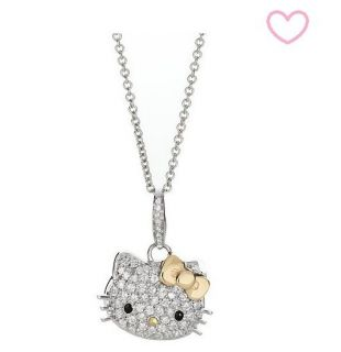 NEW 2012 HELLO KITTY Silver Gold Bow Pendant Swarovski Crystal