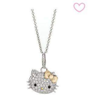 NEW 2012 HELLO KITTY Silver Gold Bow Pendant Swarovski Crystal