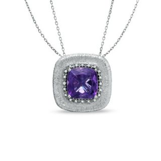 Cushion Cut Amethyst and 1/10 CT. T.W. Diamond Frame Necklace in