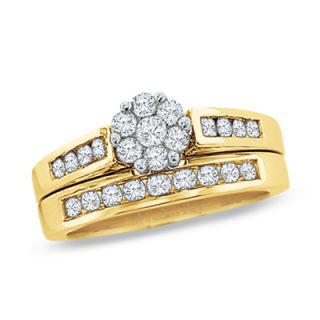 CT. T.W. Diamond Flower Bridal Set in 10K Gold   View All Rings