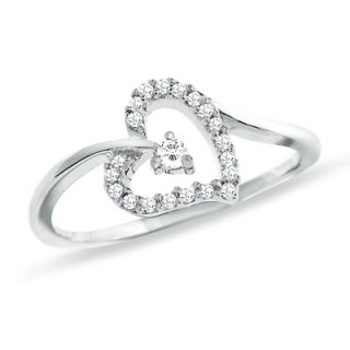 CT. T.W. Diamond Heart Ring in 10K White Gold   View All Rings