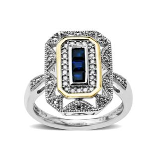 Princess Cut Sapphire and 1/8 CT. T.W. Diamond Antique Ring in