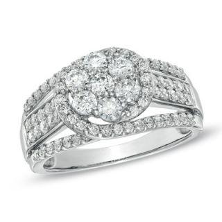 10 CT. T.W. Diamond Cluster Split Shank Ring in Sterling Silver