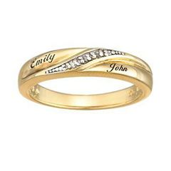 Ladies 18K Gold Plate Diamond Accent Script Wedding Band (2 Names