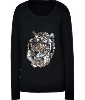 By Malene Birger Black Sequined Tiger Wool Jigala Pullover  Damen