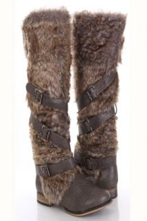 Grey Faux Leather Fur Knee High Boots @ Amiclubwear Boots Catalog