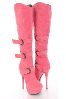 Coral Faux Suede Buckle Strapped AMIclubwear Boots @ Amiclubwear Boots