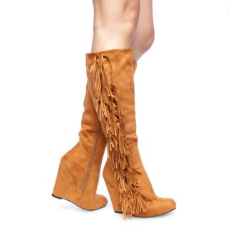 Sleek Chic Suede Fringe Covered Wedge Heel Knee High Boots Whisky Fab