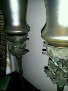 C1910 STEUBEN ART GLASS LAMP PAIR NOUVEAU BRONZE QUEZAL TIFFANY