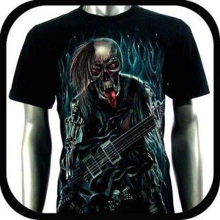 Shirt Biker Indie Tattoo RE99 Sz XL Graffiti Skull Glow In The Dark