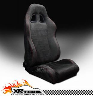 Suede Black & Red Stitch Racing Bucket Seat+Sliders 42 (Fits GMC