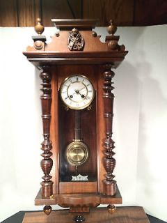Antique Schlenker & Kienzle Vienna Regulator Wall Clock with Enamel