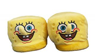 Spongebob Squarepants Face Cartoon Adult Plush Mens Slippers