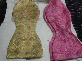 CARROT & GIBB SILK BOW TIE PINK BLUE YELLOW OR GREEN ORANGE BLUE RED