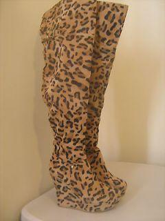 Camel Tan/ Black Leopard Round Toe Wedge Thigh High Boot 7 BNIB