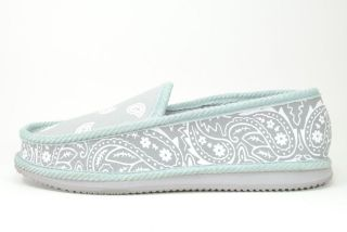 NEW BANDANA HOUSE SLIP ON SHOES GREY / WHITE MEN SIZES