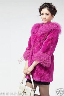 Real Rex Rabbit Fur Super Massive Mongolian Wool Removable Collar Coat