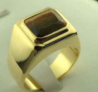 Tigers Eye rectangle MENS Ring 18k gold overlay 11