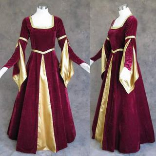 Medieval Renaissance Burgundy Gold Gown Dress Costume LARP Wedding 4X