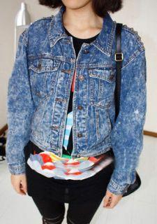 Womens Vintage Punk Rock&Roll Strong Spike Studded Shoulder Jacket