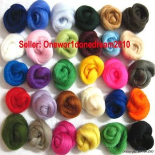 30 Colors Lot Merino Wool Roving Fibre Lot For Needle Felting Hand