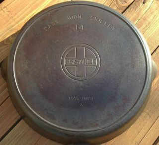 OUTSTANDING Griswold 14 Block Logo Cast Iron Frying Pan Skillet Heat