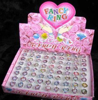 72 pcs set Hello Kitty cute rings Resin wholesale lot girls jewelry