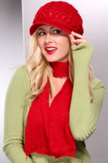 Red Knitted Brimmed Beanie Scarf Set @ Amiclubwear Earring Necklace