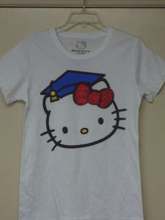 Hello Kitty White ( Graduation Kitty Face with Glitter Red Bow ) T