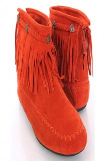 Orange Faux Suede Fringe Trim Moccasin Style Booties