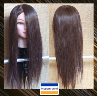 22 Hairdressing 60% Brown Real Human Hair Training Head With FREE