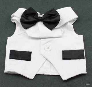 Pet Dog Tuxedo Vest Formal Wedding Halloween NIP White w/ Black Bow