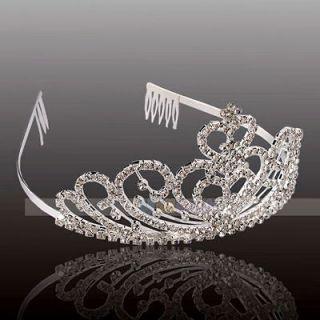 double Hearts Rhinestone Hair Accessories Crown Headband Tiaras