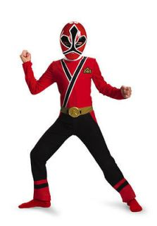 Child Sabans Power Rangers Samurai Red Power Ranger Costume Outfit