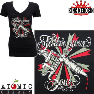 Tattoo Your Soul V Neck T Shirt Rockabilly Pin Up Punk Kustom