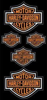 HARLEY DAVIDSON LOT OF ORANGE BAR & SHIELD DECALS 5PC DECALS