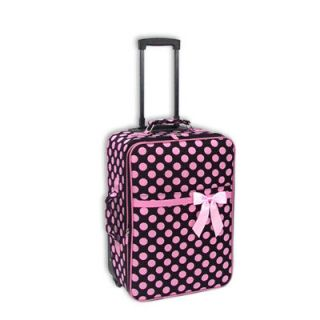Polka Dot Luggage   Small Rolling Suitcase   LD Black/Pink