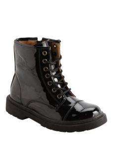 Matalan   Girls Black Patent Lace Up Boot
