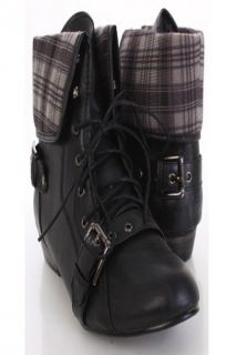Home / Black Faux Leather Lace Up Tie Buckle Fold Over Ankle Boots