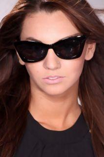 Black Plastic Frame Flare Retro Met Tint Sunglasses @ Amiclubwear