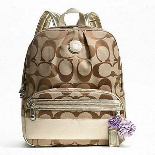 COACH F19451 Coach Signature Stripe Backpack $298 NWT Khaki Gold Coach