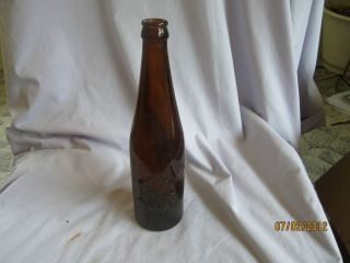 ANTIQUE WEST BEND LITHIA BREWING CO AMBER BEER glass BOTTLE