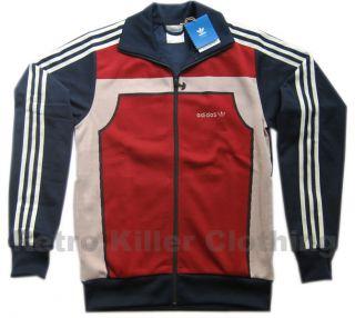 Adidas Originals Archive Classic Retro Flock Tracksuit Top Blue Red XS