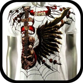 Artful Couture T Shirt Tattoo Guitar Art Punk AW44 Sz M Indie Surf