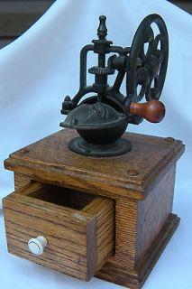 Antique Mills Cast Iron Wooden Coffee Grinder Mint condition